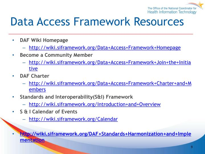Data Access Framework Resources