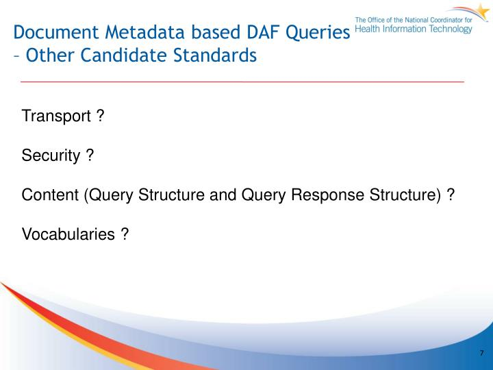 Document Metadata based DAF Queries