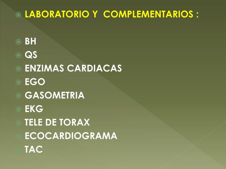 LABORATORIO Y  COMPLEMENTARIOS :