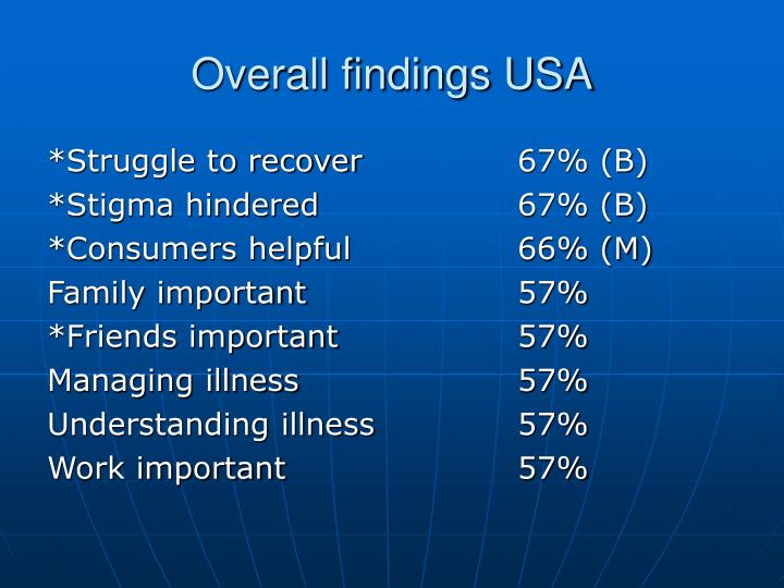 Overall findings USA