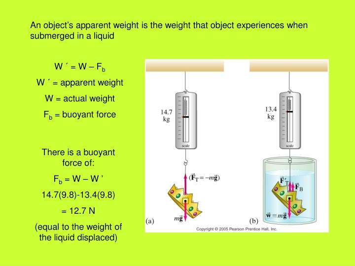An object's apparent weight is the weight that object experiences when submerged in a liquid