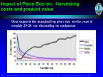 impact of piece size on harvesting costs and product value