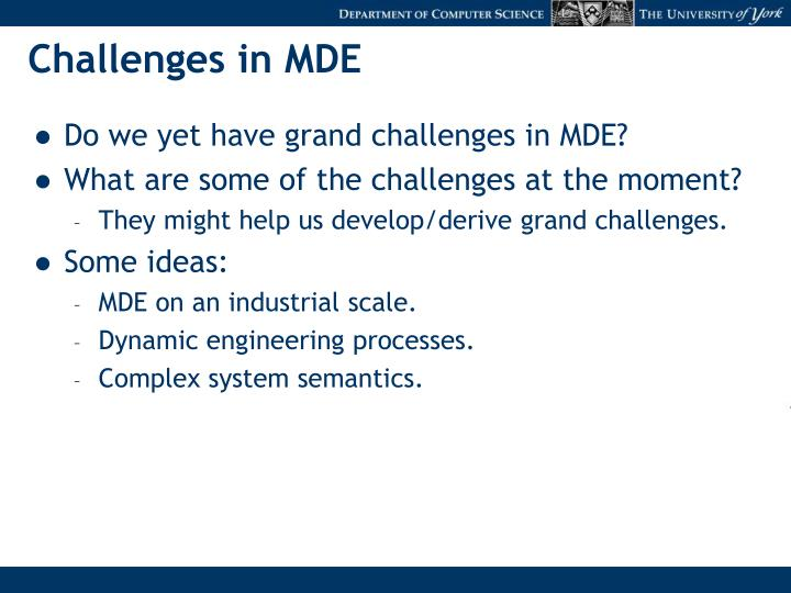Challenges in MDE