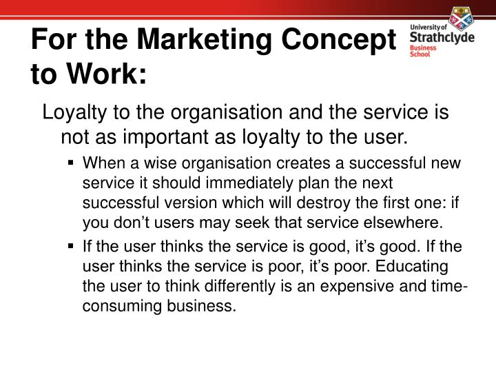 For the Marketing Concept to Work:
