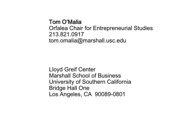 Tom O'Malia