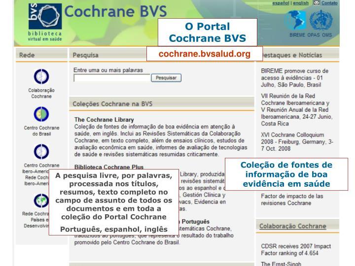 O Portal Cochrane BVS