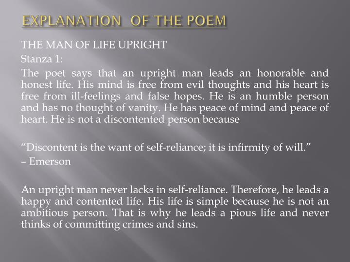 EXPLANATION  OF THE POEM