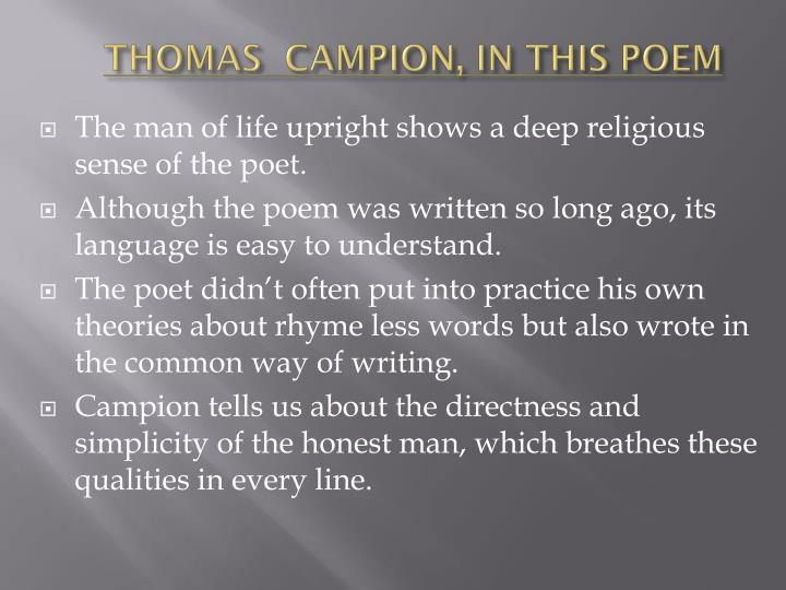 THOMAS  CAMPION, IN THIS POEM