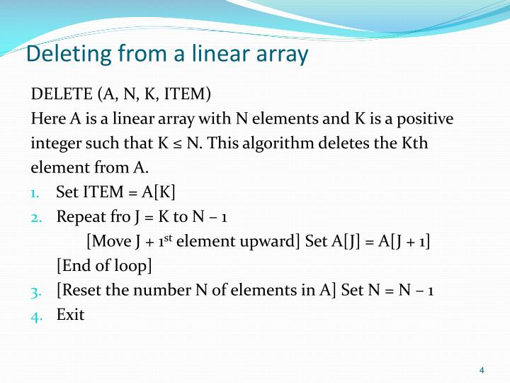 Deleting from a linear array