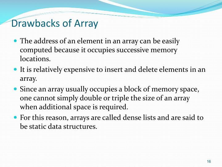 Drawbacks of Array