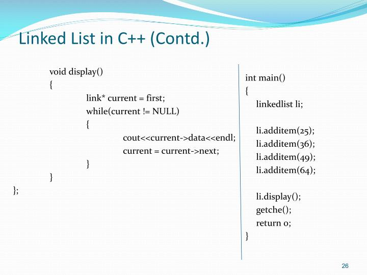 Linked List in C++ (Contd.)