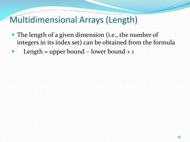 Multidimensional Arrays (Length)
