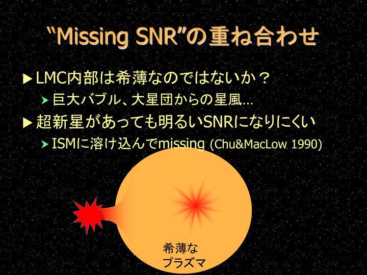 """""""Missing SNR"""""""
