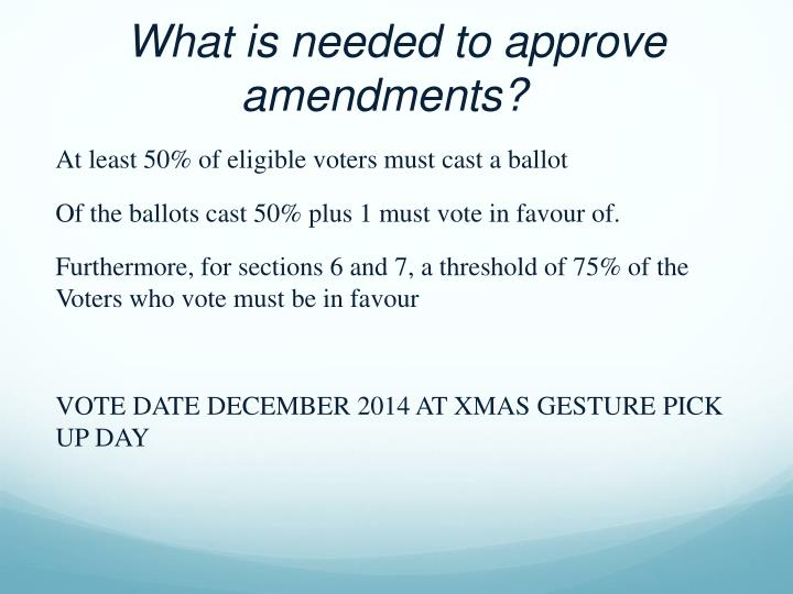 What is needed to approve amendments?