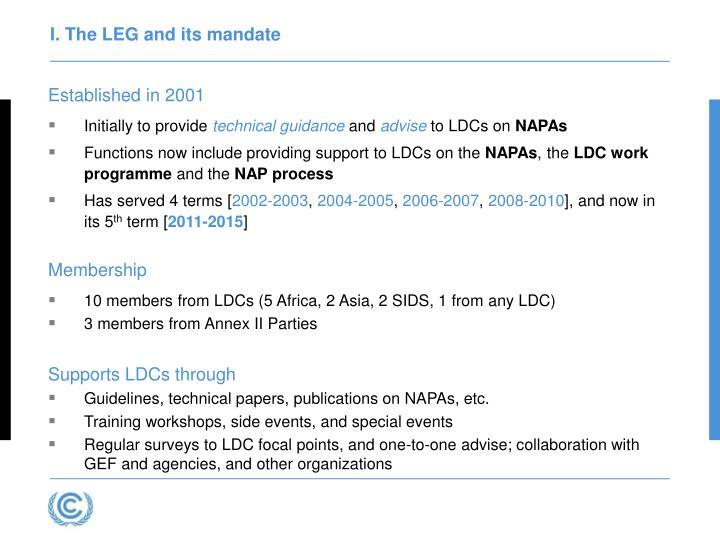 I. The LEG and its mandate