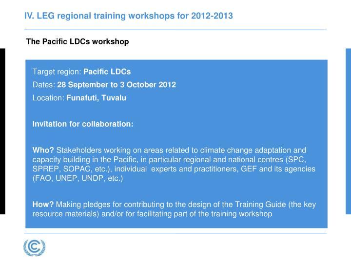 IV. LEG regional training workshops for 2012-2013