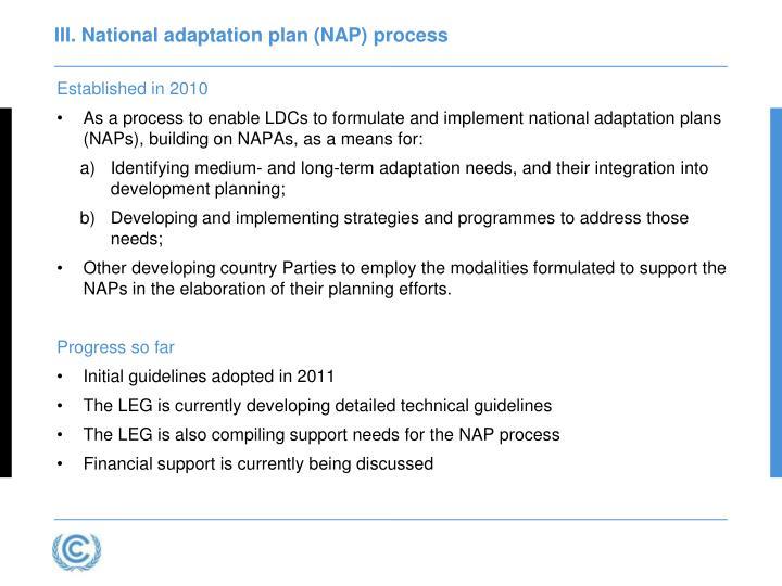III. National adaptation plan (NAP) process