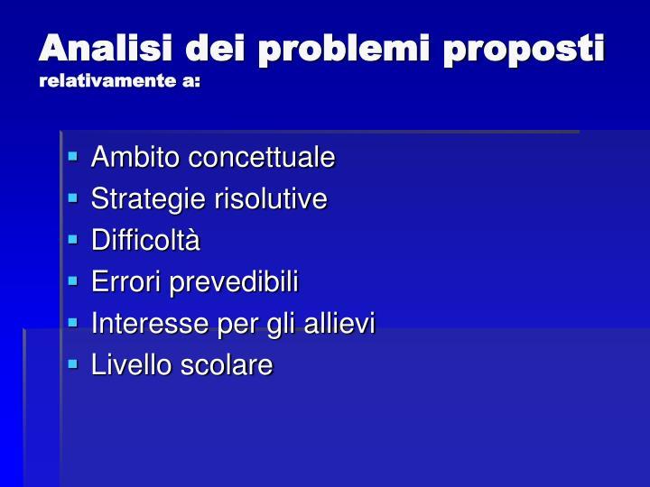Analisi dei problemi proposti