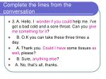 complete the lines from the conversation2