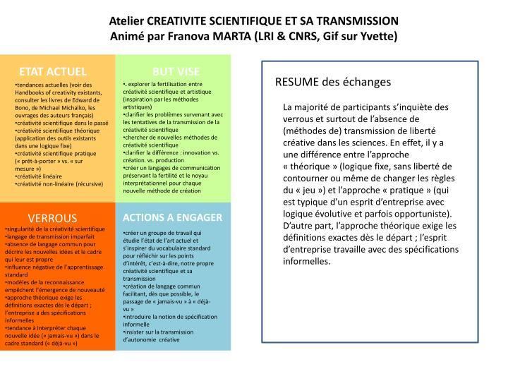 Atelier CREATIVITE SCIENTIFIQUE ET SA TRANSMISSION