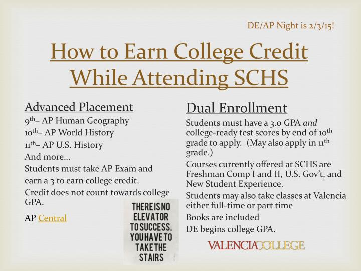 How to Earn College Credit While Attending SCHS