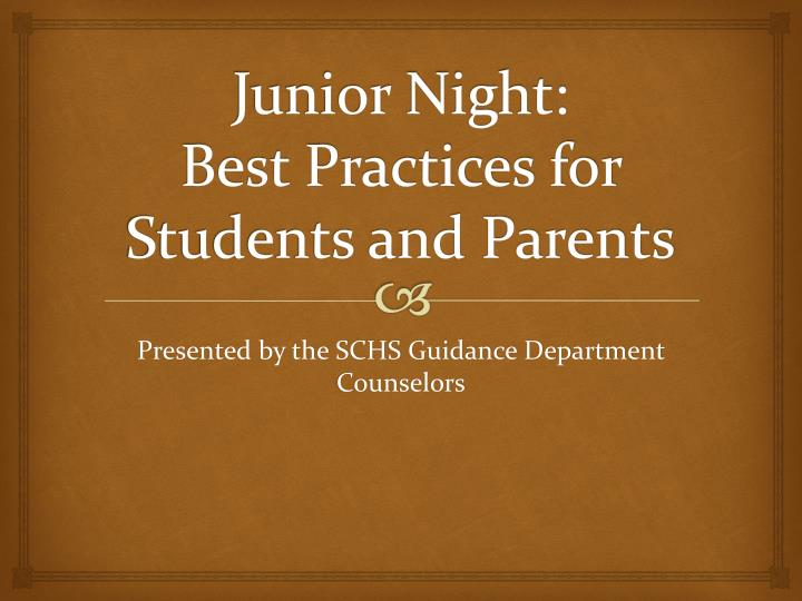 Junior night best practices for students and parents