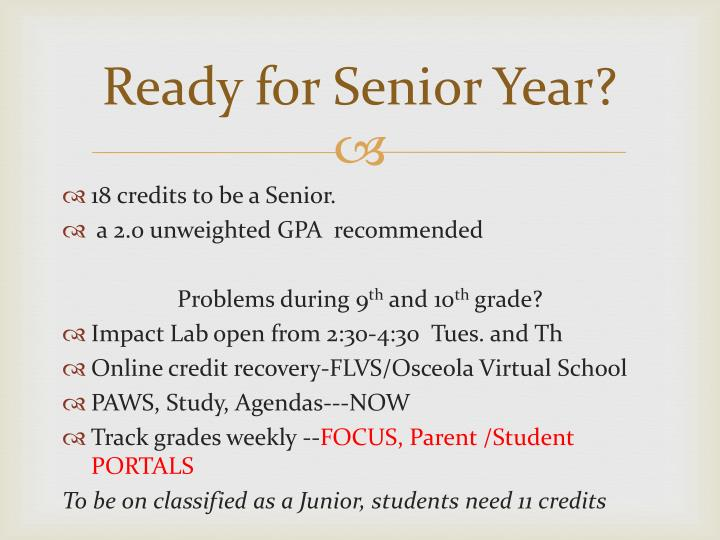 Ready for Senior Year?