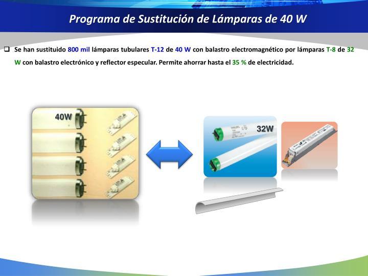 Programa de Sustitución de Lámparas de 40 W