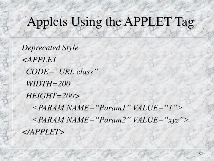 Applets Using the APPLET Tag