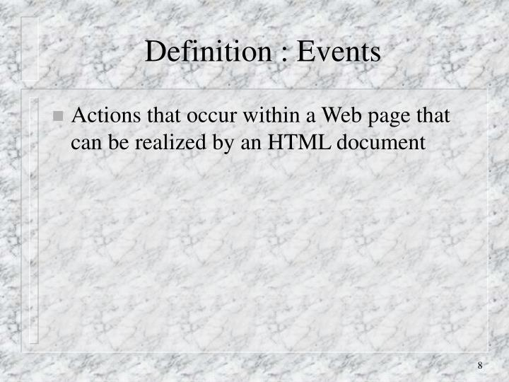 Definition : Events