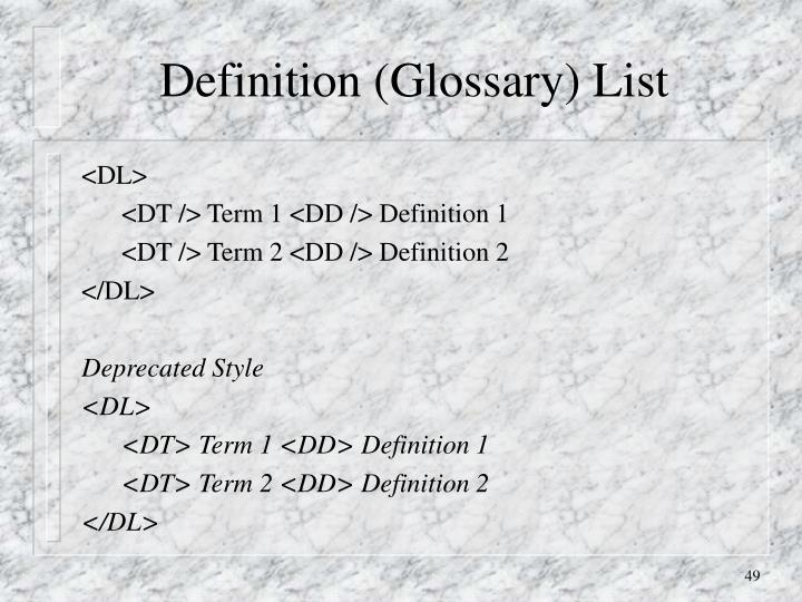 Definition (Glossary) List