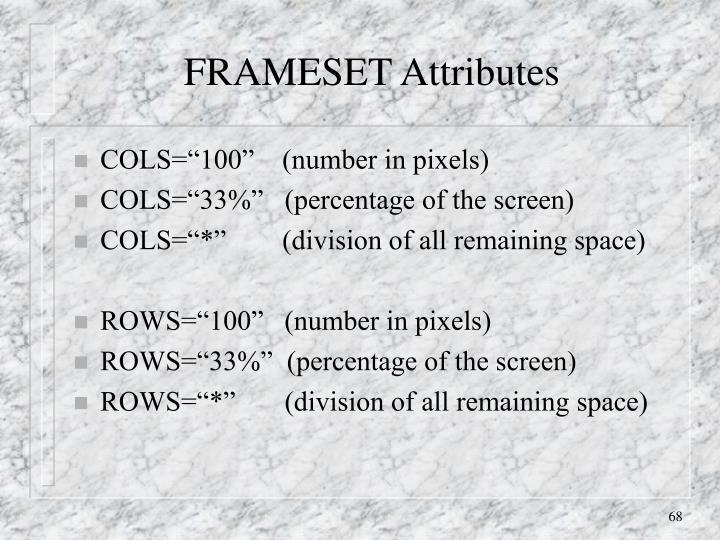 FRAMESET Attributes