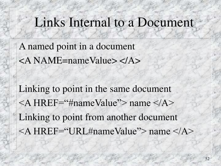 Links Internal to a Document