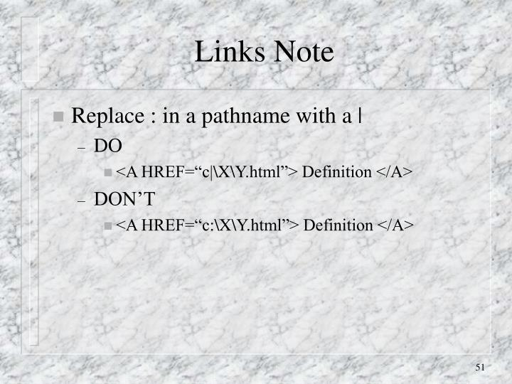 Links Note