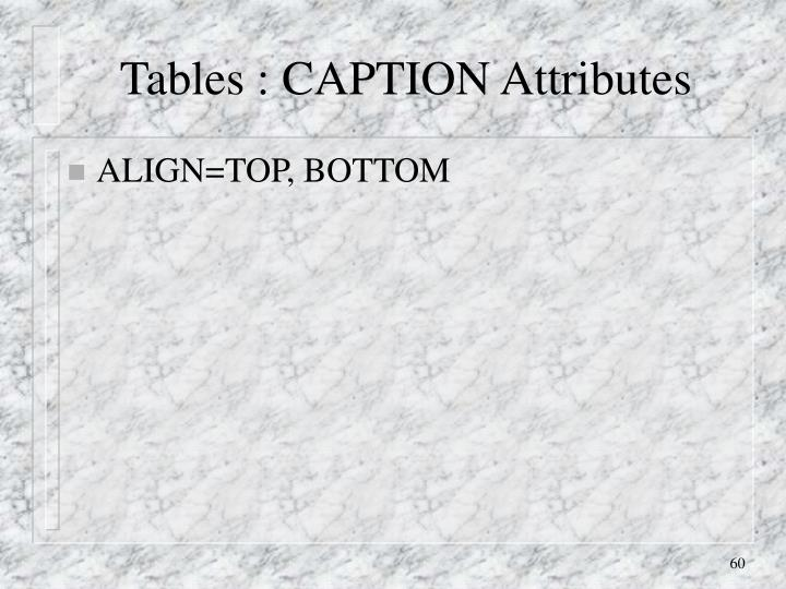 Tables : CAPTION Attributes