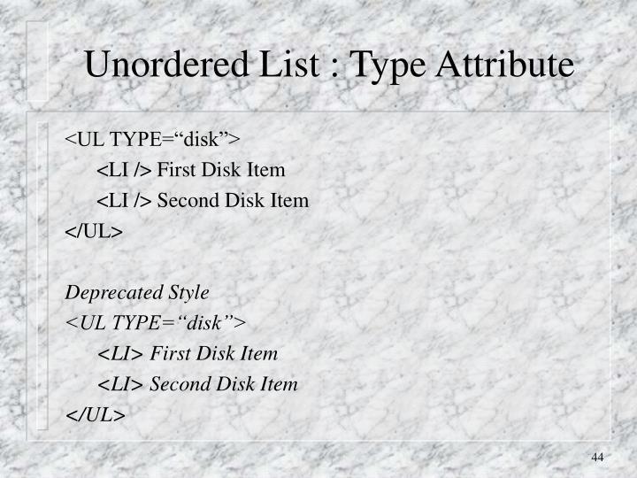 Unordered List : Type Attribute