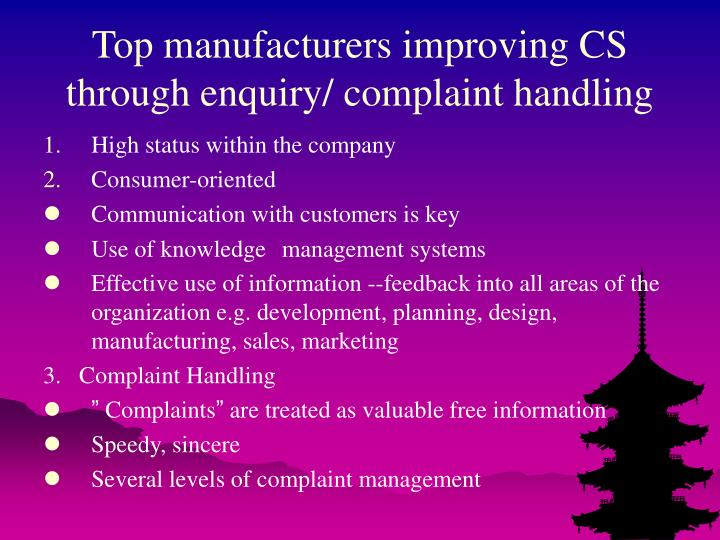 Top manufacturers improving CS through enquiry/ complaint handling