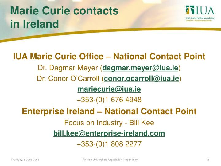 IUA Marie Curie Office – National Contact Point