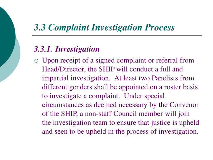 3.3 Complaint Investigation Process