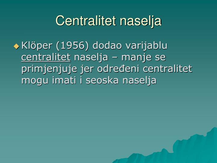 Centralitet naselja