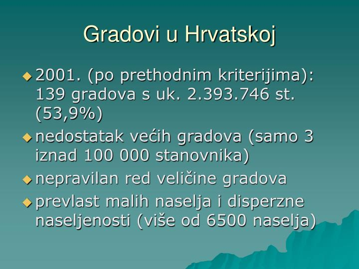 Gradovi u Hrvatskoj