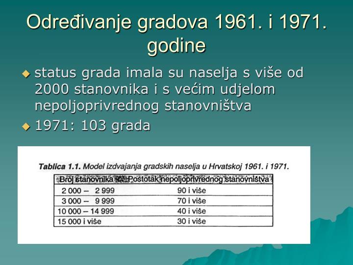 Određivanje gradova 1961. i 1971. godine