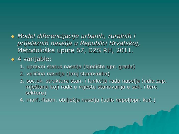 Model diferencijacije urbanih, ruralnih i prijelaznih naselja u Republici Hrvatskoj