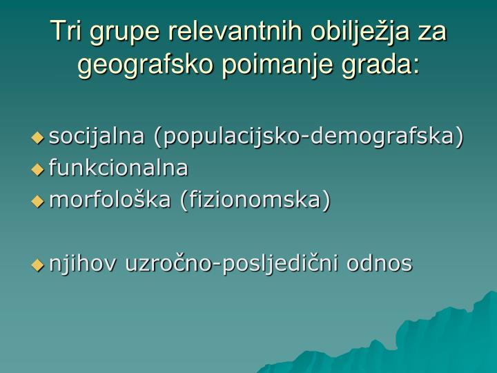 Tri grupe relevantnih obilježja za geografsko poimanje grada:
