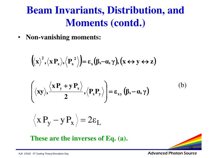 Beam Invariants, Distribution, and Moments (contd.)