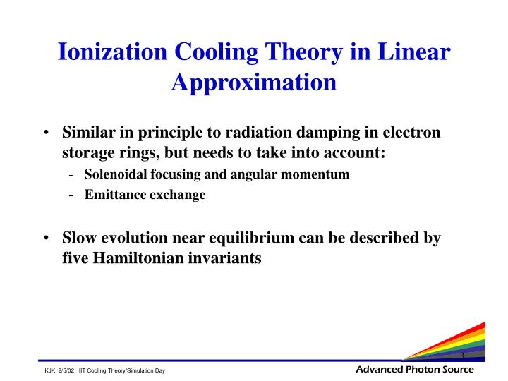 Ionization cooling theory in linear approximation