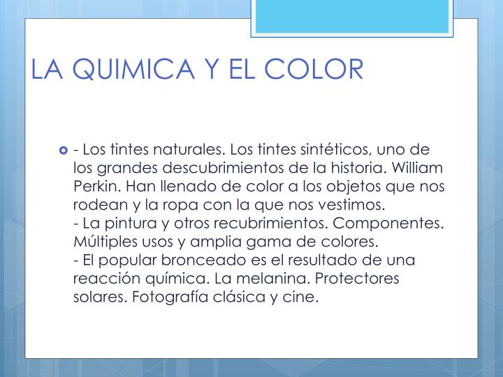LA QUIMICA Y EL COLOR