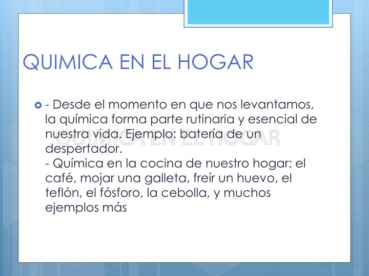 QUIMICA EN EL HOGAR