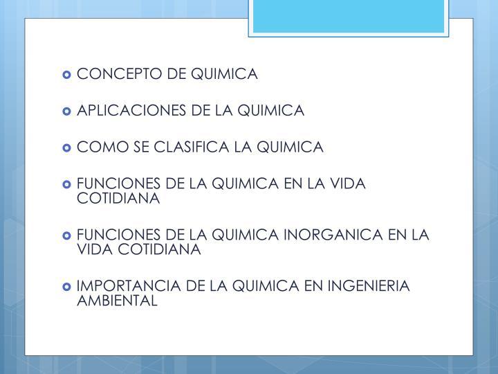 CONCEPTO DE QUIMICA