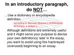 in an introductory paragraph do not2